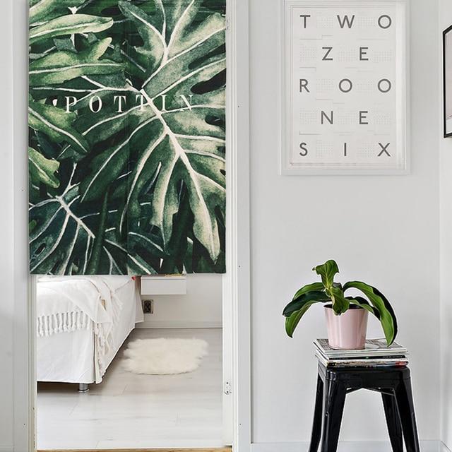 Nouveau Lin Noren Style Japonais Porte Rideau Tropical Palmier