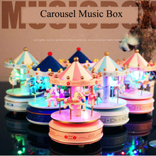 christmas Carousel Music Box With LED lights Craft Ornament clockwork Wooden music box birthday Party girlfriend gift home decor