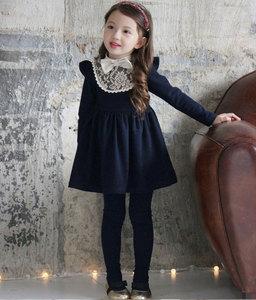 Image 3 - Зимние платья для маленьких девочек, хлопковые теплые платья принцессы для маленьких девочек, плотные кружевные платья для девочек с бантом