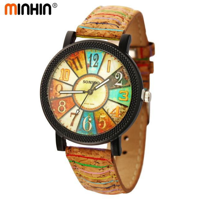 MINHIN Personality Women Fashion Quartz Watches Pattern Leather Strap Adjustable