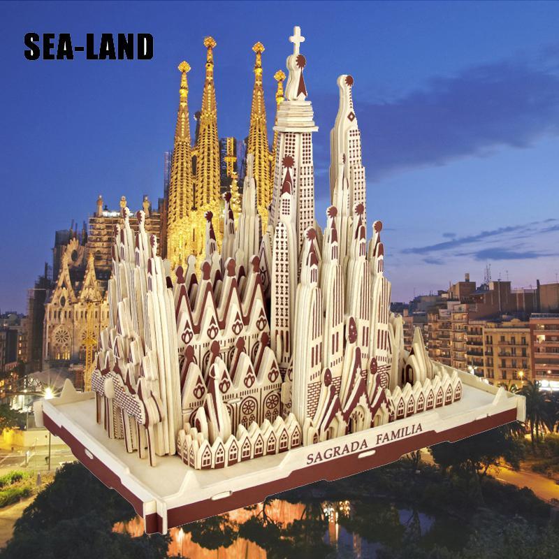 Livraison directe 3D Puzzle en bois enfants modèle adulte la Sagrada Familia un jouet pour enfants de célèbre série de construction meilleur cadeau pour les enfants