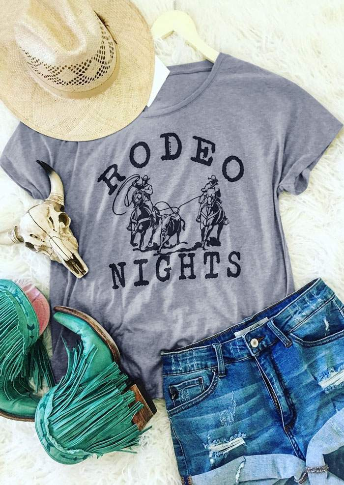 Fashion Women   T  -  Shirt   Rodeo Nights Short Sleeve   T  -  Shirt   Summer Casual Female Gray Cowboy Character Print   t     shirt   Ladies Tops Tee