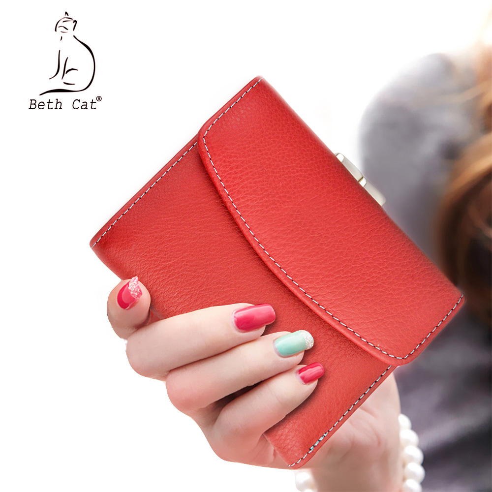 Beth Cat New Short Genuine Leather Women Wallet Fashion Female Small Wallet Money Bag Lady Mini Card Holder Coin Pocket Purses in Wallets from Luggage Bags