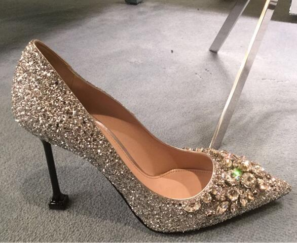 2017 Newest Silver Glitter Embellished High Heel Shoes Pointed toe Ankle Strap Woman Wedding Bride Shoes Thin Heel Pumps newest solid flock high heel pumps woman