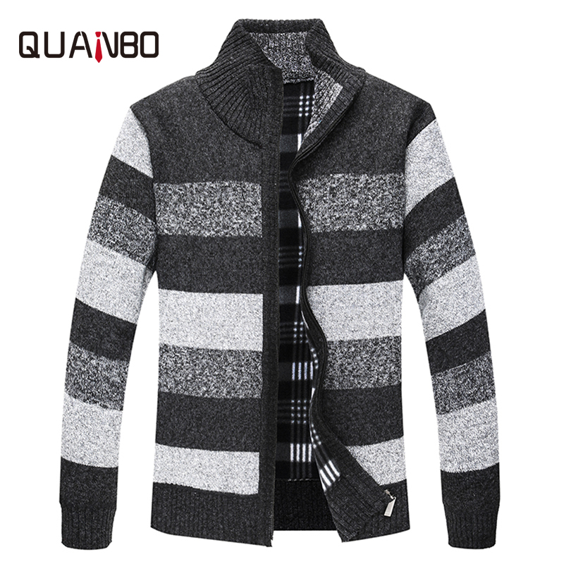 QUANBO Men Sweaters Knitted Cardigan 2018 New Arrival Winter Thick Warm Male Casual Fashion Striped Zipper Sweaters Brand