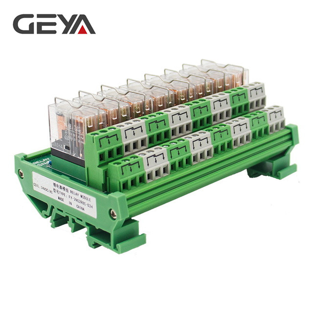 GEYA 2NG2R 8 Channel Omron Relay Module 2NO 2NC 12V 24V AC & DC DPDT Relay for PLC Automation Project rotary knob dpdt 2no 2nc 8p 0 30seconds timing time relay dc 24v ah3 2
