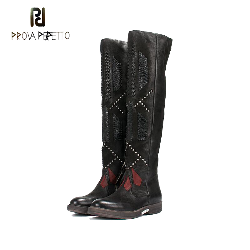 Prova Perfetto Fashion New Patchwork Weave Women Over The Knee Boots Thigh High Boots Rivets Studded Platform Flat Martin Boats prova perfetto yellow women mid calf boots fashion rivets studded riding boots lace up flat shoes woman platform botas militares