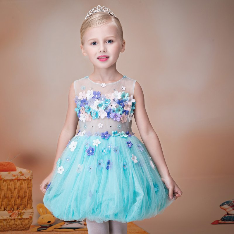2018 autumn girls fancy mini floral party wear clothing for children sleeveless lace princess wedding dress prom dress for teens see thru mini lace dress