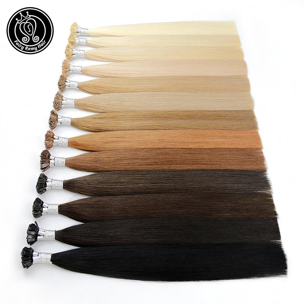 "Fairy Remy Hair 0.8g/s 18"" Remy Flat Tip Keratin Human Hair Extension European Human Hair On The Capsule Fusion Hair 50s/pac"