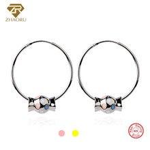 цены ZHAORU 925 Sterling Sliver Earrings Ear Loop Enamal Earring Pandore Charm Earring for Women Fashion Fine Jewelry Earring Gift