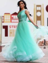 A linha de Um Ombro Frisado Mangas Azul Turquesa Vestidos Formais Até O Chão Tule vestido de Princesa Vestido de Noite(China (Mainland))