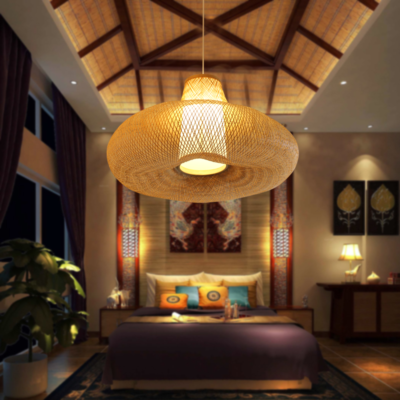 Southeast Asia bamboo Pendant Lights living room lamp bedroom minimalist tatami restaurant Japanese Pendant lamp LU728302 tradition design wooden southeast asia chinese style bamboo pendant lamp for restaurant veneer dining room master room lights