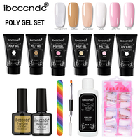 6 Colors Poly Gel Kit Nail Builder Gel Varnish Polish Polygel Quick Nail Extension Hard Gel Solution Base Top Coat Nail Art Set