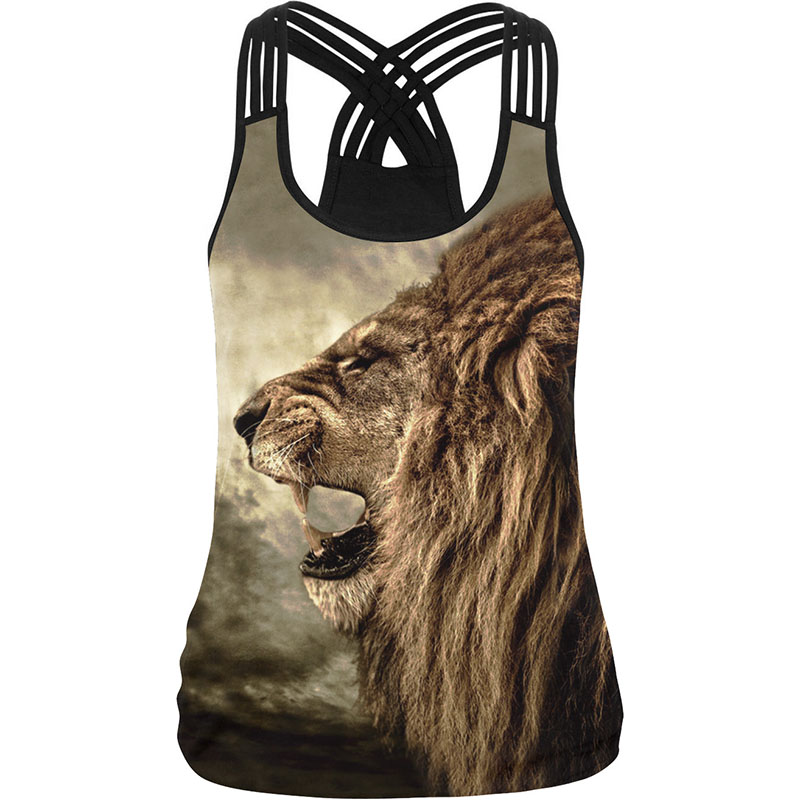 Cool! Lion Print Naised Camisole 10 stiili 3D trükitud must valge seksikas vestik naise vabaaja fitness spordisaalid elastne rakmed tank tops
