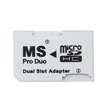 Hot Sale Dual Slot For Micro SD SDHC TF to Memory Stick MS Card Pro Duo Reader Adapter For PSP Card Reader