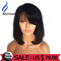 ALICROWN Short Full Lace Wigs Human Hair With Baby Hair Bob Human Hair Lace Front Wigs Black Women Short Lace Wigs WIth Bangs