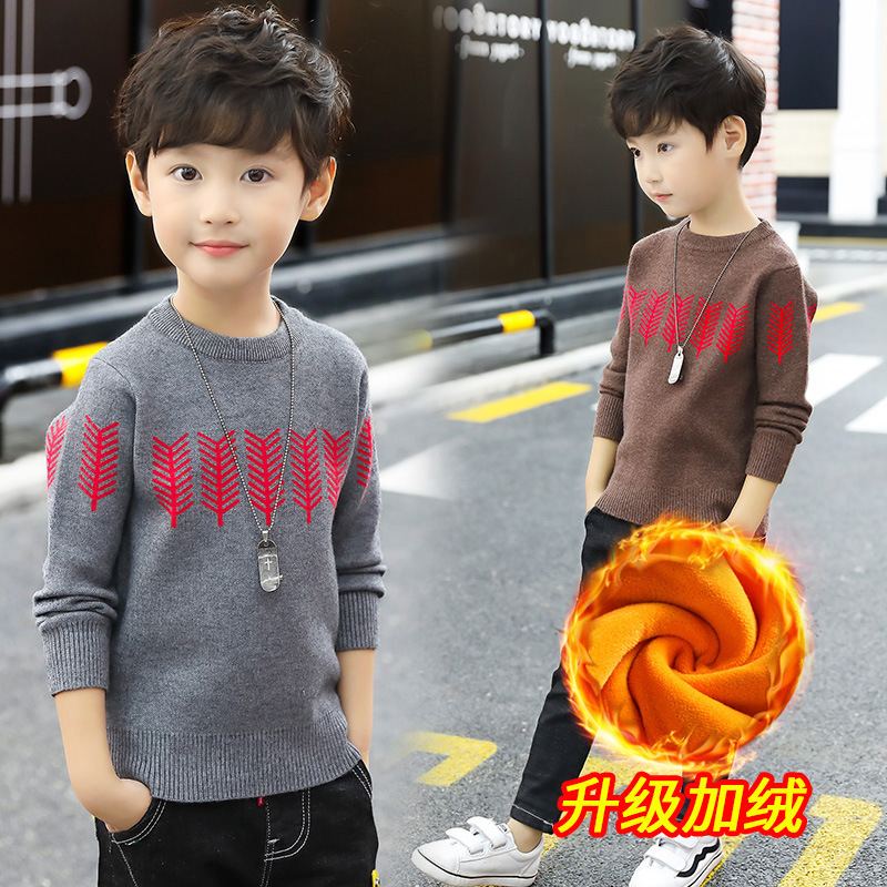 Baby Knit Sweater 2018 Winter Christmas Sweater Boys Long Sleeve Velvet Toddler Boys Winter Top 3 4 5 6 7 8 9 10 11 Pull Garcon цена
