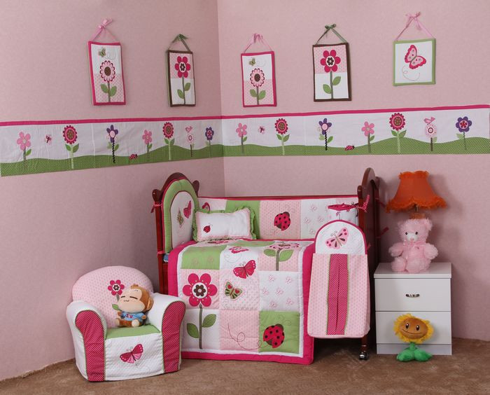 Girl Baby Bedding Set Pink 3d Snail Butterfly Flower