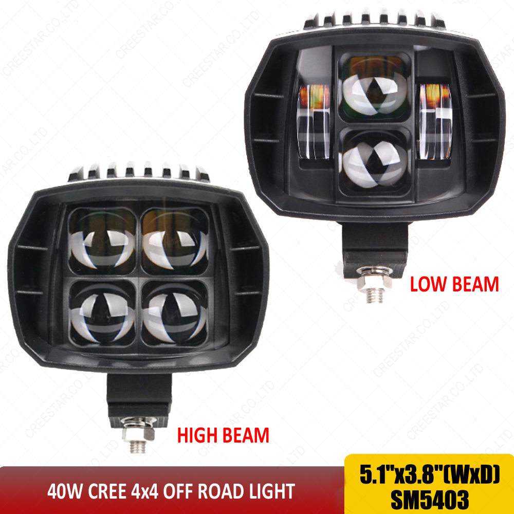 Black 40w Led Headlight Motorcycle 12v led headlamp 5'' led auxiliary beam work driving light used for SUV ATV Truck Car x1pc 5inch new led driving light 40w led headlight low beam lamps for car truck suv atv marine new external light x2pcs free shipping