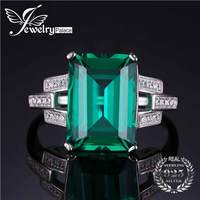 JewelryPalace Luxury 5 9ct Created Green Emerald Cocktail Ring 925 Sterling Silver Rings For Women Fine