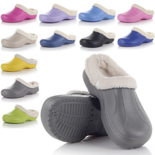 1 Pair Men Eco Slip-on Warm Winter Fur Garden Shoes Clog Indoor  Casual Home Slippers EVA Flat Footwear High Quantity
