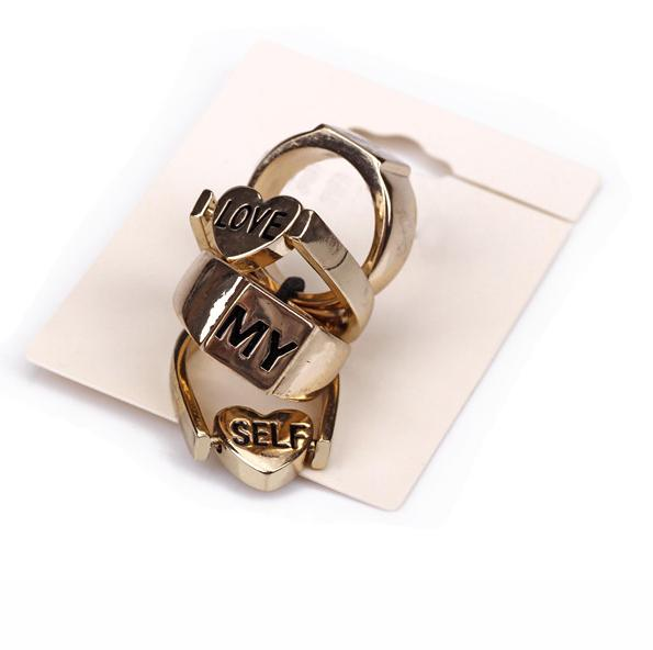 Personality Fashion Jewelry Vintage Punk Gold Joint Rings Lettering Letter Finger Honey Female ABC