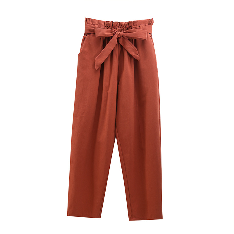 Sweet High Elastic Waist Pants Women With Bow 2019 Autumn Loose Black Pants Women Spring Casual Ankle-length Capris Pants Summer