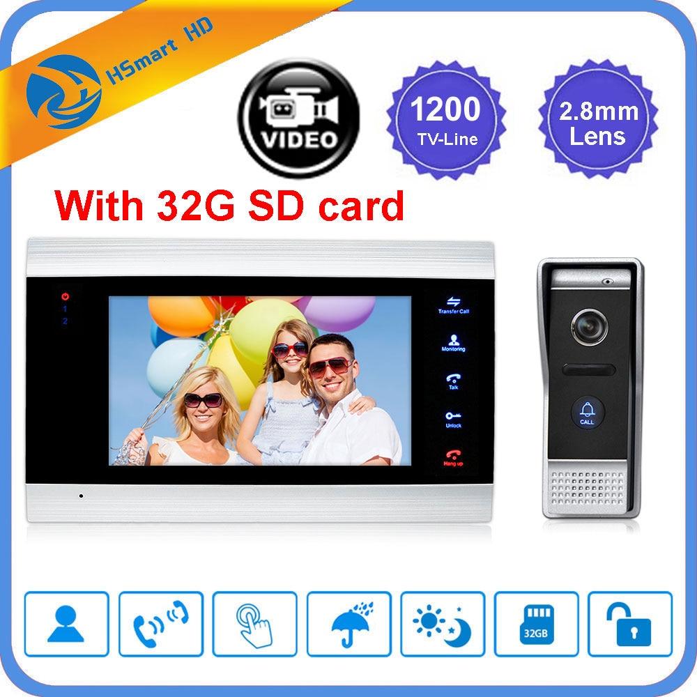 Главная 7 дюймов ЖК дисплей видео дверной звонок 1200TVL Водонепроницаемый ИК Камера дверной домофон Системы Обнаружение движения домофона + 32G SD карты