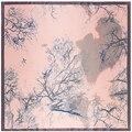 90 см * 90 см Ручная роспись дерево печатных шарф люксовый бренд палантины, шали, шарфы шарфы 2017 мода bufandas invierno пункт mujer A358