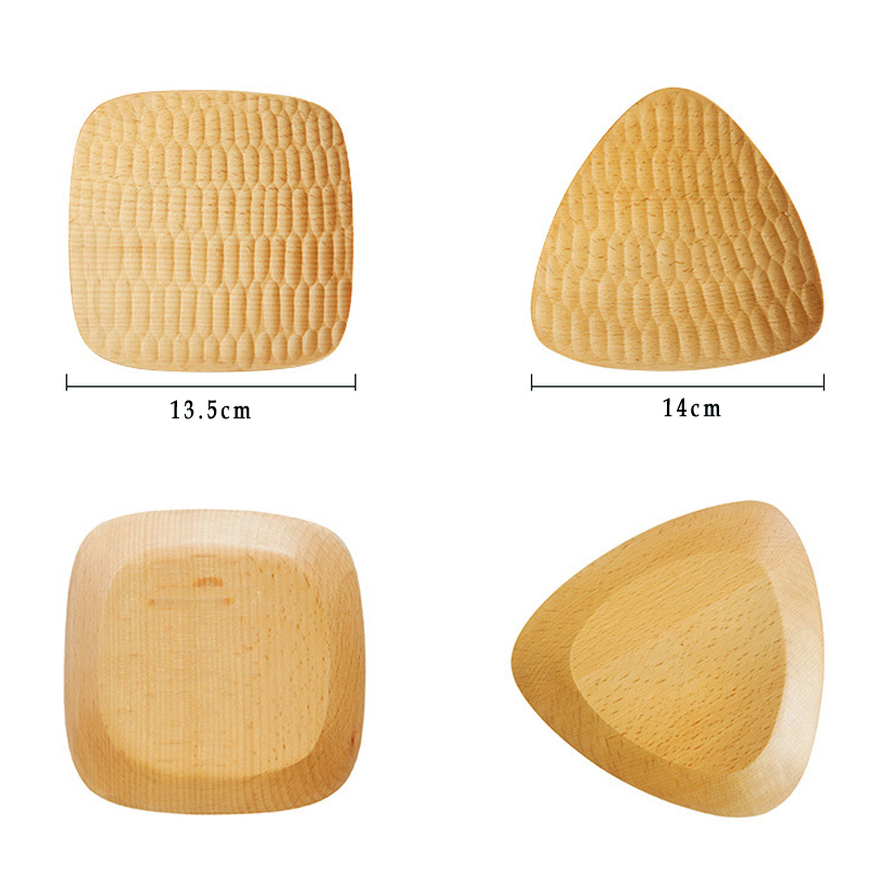 Natural Hand-made Wooden Plate Small Wood Trays Mini Deesert Snack Cake Dishes Serving Plates Wooden Tableware Kitchen Utensils