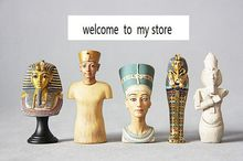 plastic Old gold bust of Egyptian coffin gold mask patron simulation doll doll ornaments figure the statue model 5pcs/set