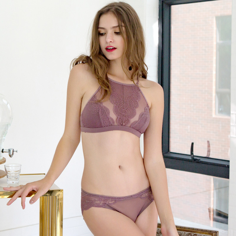 Brand Full Lace Embroidery Flowers Thin Underwear Set For Women Wireless Ba  Set Girl Transparent 4 Hook Lace Bra and Panties-in Bra   Brief Sets from  ... c26a1b85d