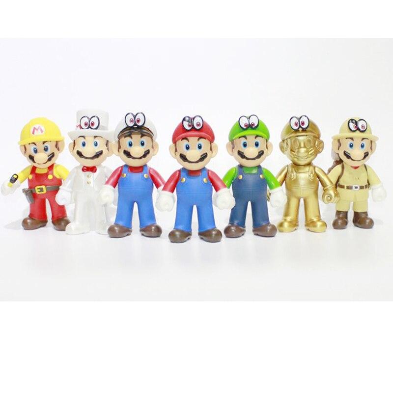 9 pièces/ensemble Super Mario jouets figurines d'action Anime Cartoon Super Mario Odyssey PVC figurines Pour Enfant Cadeaux
