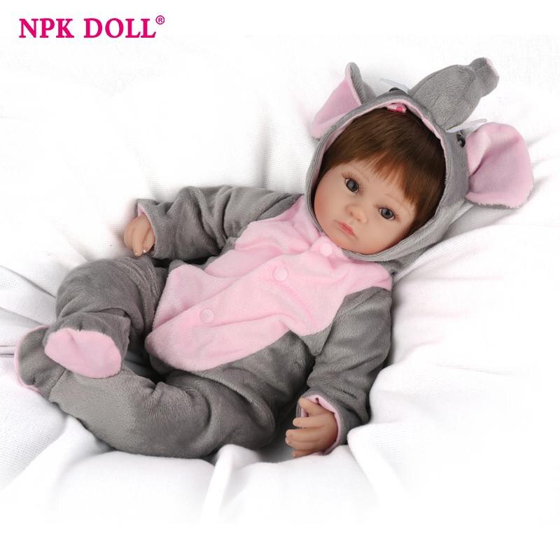 NPK Doll 16 inches 45CM silicone reborn doll Bonecas Baby Reborn realistic magnetic pacifier bebe reborn