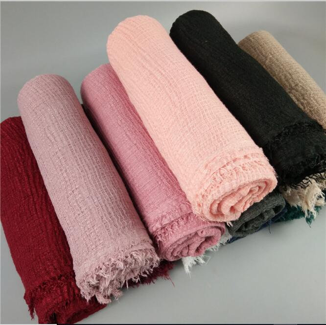 E 8 High Quality Solid Plain Crinkled Hijab Bubble Cotton Viscose Scarf Muslim Hijab Wraps Scarves Wrinkle Hijab Women Shawl