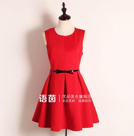 b95119dda Nueva moda mujeres otoño vestido sin mangas rojo peplum fiesta Vestidos  casual vintage retro mujer vestido