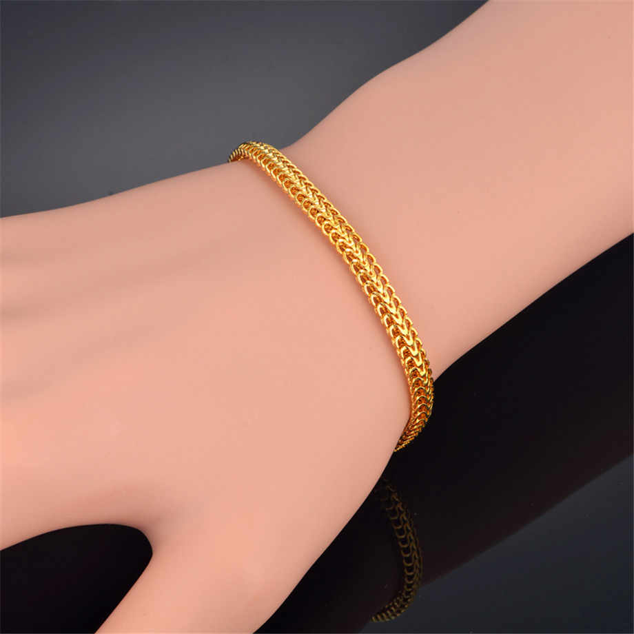 Mens Bracelet Stainless Steel Male Bracelet Wholesale Braslet Silver Color braclet Chunky Cuban Chain Link Gold Bracelet For Man