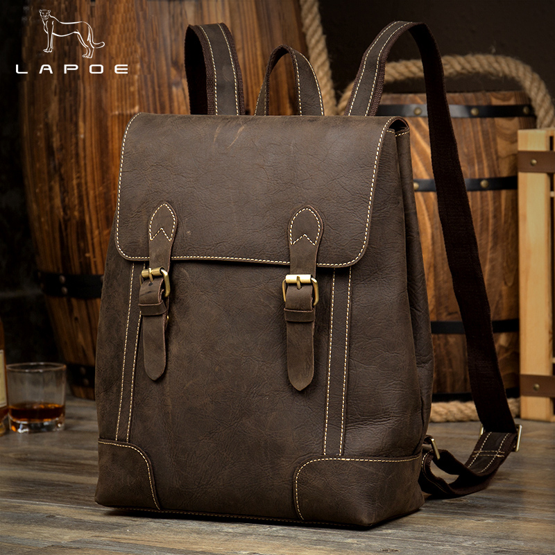 LAPOE Crazy Horse Cowhide Men Backpack Genuine Leather Vintage Daypack Travel Casual School Book Bags Brand Male Laptop Bags