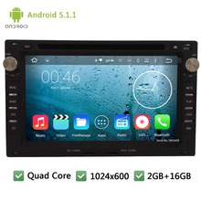 Quad Core Android 5.1.1 2Din 1024*600 Car DVD Player Radio Audio Stereo PC For Volkswagen VW Jetta Polo Bora Golf 4 Passat B5 T5
