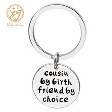 Zhijia jewelry Cousin Gifts Stainless Steel Key Chain Ring DIY chaveiro Cute sleutelhanger porte clef for Women Men llaveros