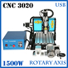 JFT CNC 3020 1500w 4 Axis USB Port 3D Drilling Router DIY Cnc3020 Wood Carving Engraving