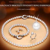 PEISENI 100% natural freshwater pearl jewelry sets 925 sterling silver jewelry Necklace genuine set for woman