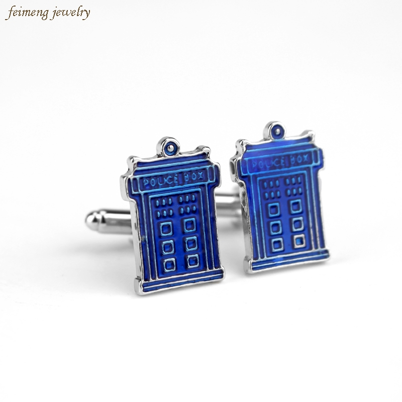 Movie Doctor Who House Blue Enamel POLICE BOX Cufflinks For Mens Brand Cuff Buttons Cheap Wholesale Fashion Cuff Links