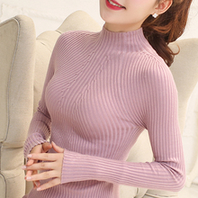 Новый 2016 Весенняя Мода свитер Женщин высокие упругие Твердые свитер женщин тонкий сексуальный плотно Основывая Трикотажные Пуловеры