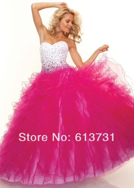 dcd8aa3f859 Dazzling Beading Hot Pink Quinceanera Dresses Ball Gown With Ruffles  Sweetheart Organza Floor length Prom Dresses