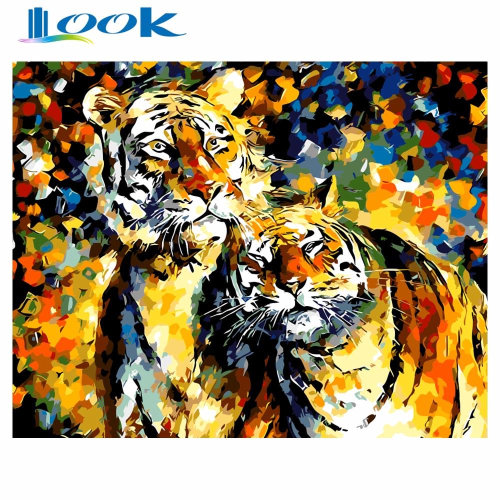 Безрамне Абстрактний тигр Живопис DIY - Домашній декор