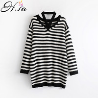 H SA Women Sweater Dresses Knitted Pullover And Jumpers 2017 Autumn Winter Black White Striped Long