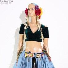 الرقص الشرقي المخملية الدهون فرصة القبلية غاجرا البطن ملابس رقص قصيرة Brop كم أعلى النساء أعلى CJJ21