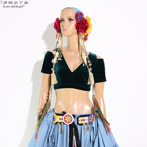 Image 1 - Belly Dance Velvet Fat Chance Tribal Choli Belly Dance Costume Short Drop Sleeve Top women top CJJ21