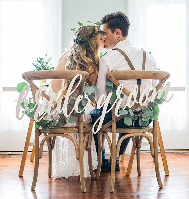Bride And Groom Chair Signs For Wedding, Hanging Chair Sign Acrylic Wedding  Signs Bride U0026